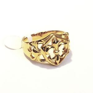 New stainless steel gold tone ring